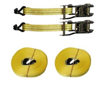 2 x 35mm x 5 metre RATCHET LASHING STRAPS MBL 2T Claw Hook tie down trailer